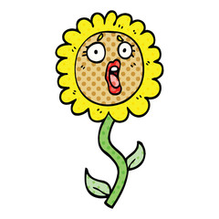 comic book style cartoon shocked sunflower