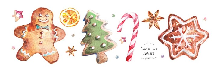 watercolor isolated illustration of Christmas and New Year's gingerbread and sweets, biscuit drawings, hand-painted colors: gingerbread man, Christmas tree, candy cane, orange, anise, wooden star