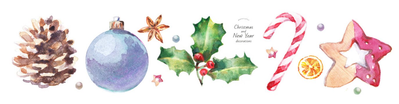 watercolor isolated illustration of Christmas and New Year decorations on the tree, hand-drawn drawings: ball, pine cone, holly, candy cane, orange, anise, wooden star