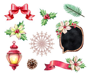 Christmas design elements, holiday floral ornaments, lantern, red rose, white lilly, ribbon tag, botanical decor, watercolor illustration, isolated on white background