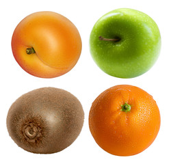 One whole orange, apple, kiwi and apricot isolated on white background. A set of different sweet fruits.