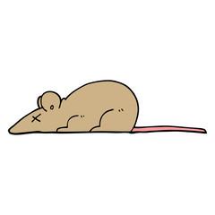 hand drawn doodle style cartoon dead rat
