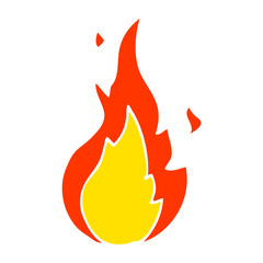 flat color illustration cartoon flame symbol