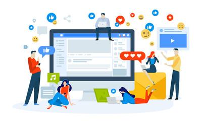 Obraz Vector illustration concept of social media. Creative flat design for web banner, marketing material, business presentation, online advertising. - fototapety do salonu