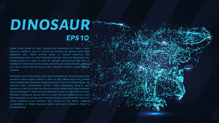 Dinosaur of particles. A predatory dinosaur on the hunt for the victim. Wall mural