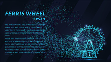 Ferris wheel particles. The Ferris wheel consists of circles and points. Vector illustration