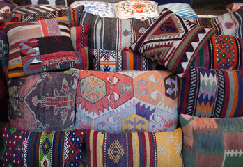 Colorful oriental pillows for sale at local middle eastern market in Istanbul, Turkey