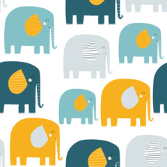 Seamless pattern with funny elephants. Kids fashion print. Vector hand drawn illustration.