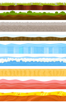 Game background vector cartoon landscape in summer or winter interface gamification and gaming scene grass stone ice backdrop illustration set of sea underwater ocean or desert wallpaper