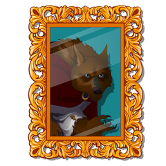 Vintage portrait with ornate florid frame with a picture of a werewolf isolated on white background. Vector cartoon close-up illustration.