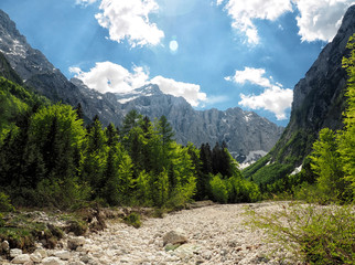 Fototapete - Looking towards Triglav in the Vrata Valley