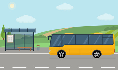 Rural landscape with road, bus stop and moving bus. Flat style vector illustration