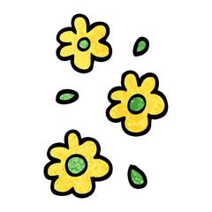 grunge textured illustration cartoon flower heads
