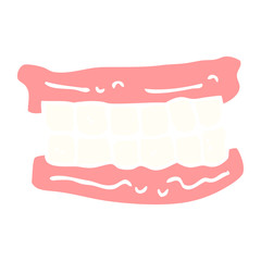 flat color illustration cartoon false teeth