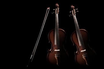 Violin with bow. Classical orchestra music instruments