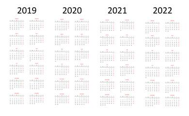 Calender 2019-2020-2021-2022