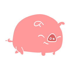 flat color illustration cartoon pig