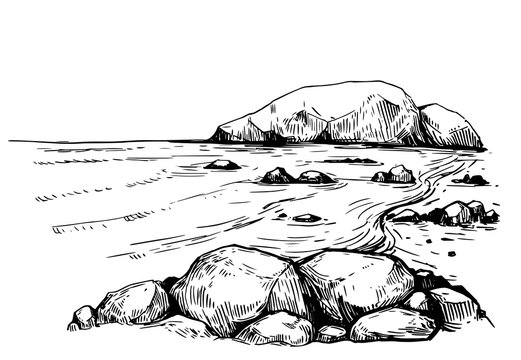 Sea with rocks. Hand drawn illustration converted to vector