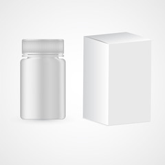 Plastic medicine container for pills, drugs isolated on white. Box and package for vitamins supply, detox tablets, mint candies. Realistic bottle with ribbed caps and cardboard packaging.