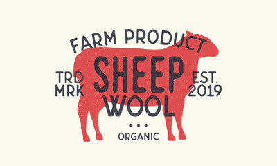 Sheep wool. Vintage logo, print. Retro poster. Sheep silhouette. Vector Illustration