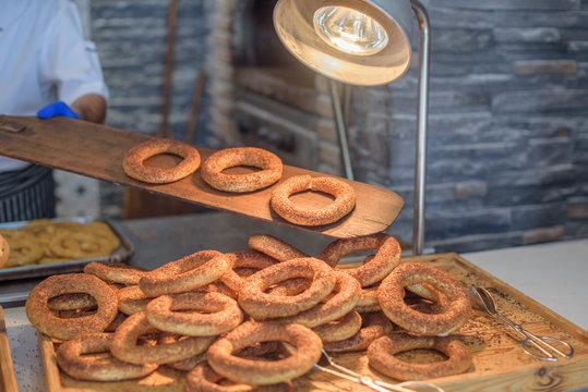 cooking turkish bagels (simit)