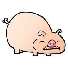 vector gradient illustration cartoon pig