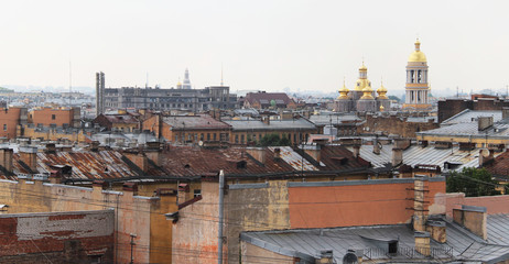 Beautiful view of the roofs in Saint Petersburg