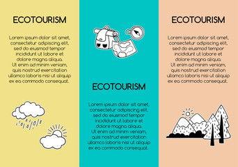 Travel and ecotourism posters with hand-drawn icons and area for text. Vector templates.