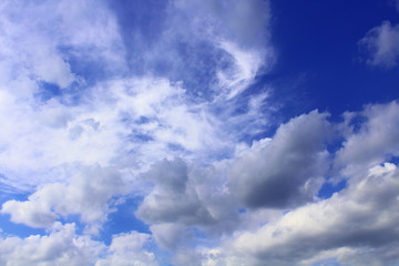 Beautiful blue sky and white clouds. Background. Landscape.