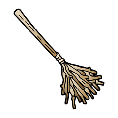 vector gradient illustration cartoon witches broomstick