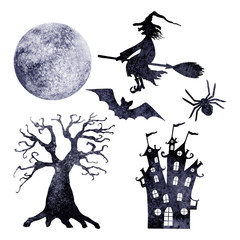 Halloween silhouettes. Set of watercolor moon, flying on broom witch, spider, bat, tree, and castle