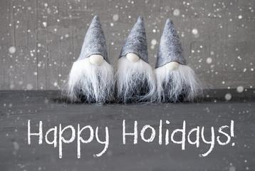 Three Gray Gnomes, Cement, Snowflakes, Happy Holidays