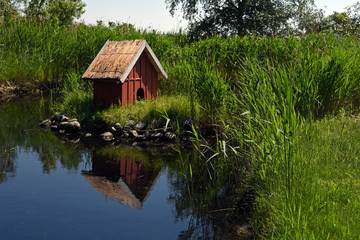 Duck house at a pond
