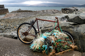 old bicycle on the beach