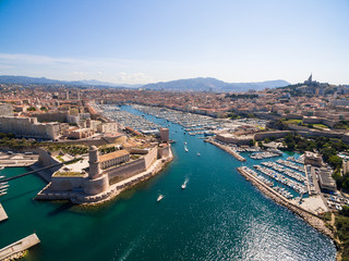 Aerial view of Marseille pier - Vieux Port, Saint Jean castle, and mucem in south of France Wall mural