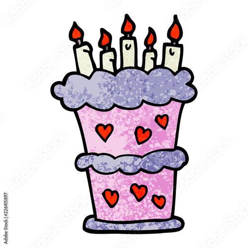 Grunge Textured Illustration Cartoon Birthday Cake