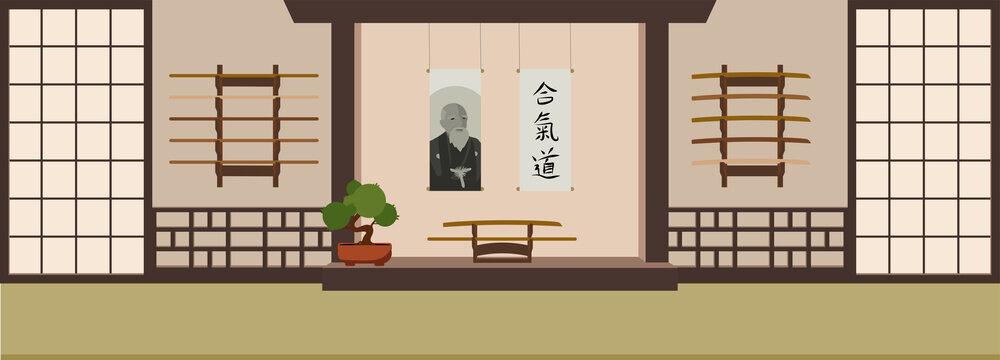 Aikido dojo in asian style. Flat vector Illustration.