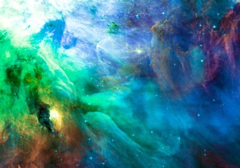 Blue and Greeen Color-Enchanced Orion Nebula Galaxy Universe Background Wallpaper Original Image by NASA