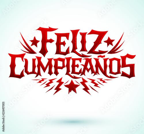 Feliz Cumpleanos Happy Birthday Spanish Text Vector Hardcore Punk