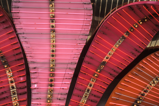 Close abstract view of neon lights