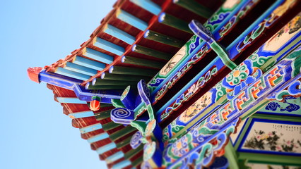 Shot of Ancient Chinese temple pagoda castle