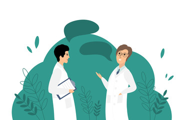 Vector illustration with two doctors.