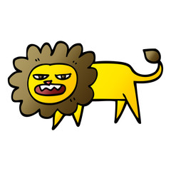 vector gradient illustration cartoon angry lion