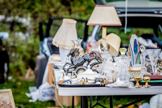 Dishes on car-boot sale in London