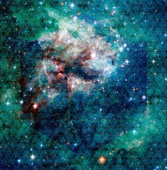 Seaweed Green Recolored Tarantula Nebula with Metatron's Cube and Sacred Geometry Pattern Galaxy Universe Background Wallpaper Original Image Credit NASA/ESA