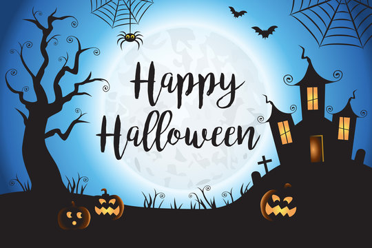 Happy Halloween Spooky Blue Vector Scene Background 1