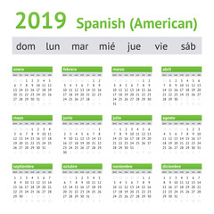 2019 Spanish American Calendar. A week starts on Sunday