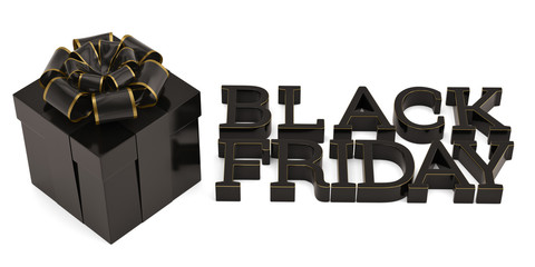 Black friday sale word and gift box isolated on white background 3D illustration.