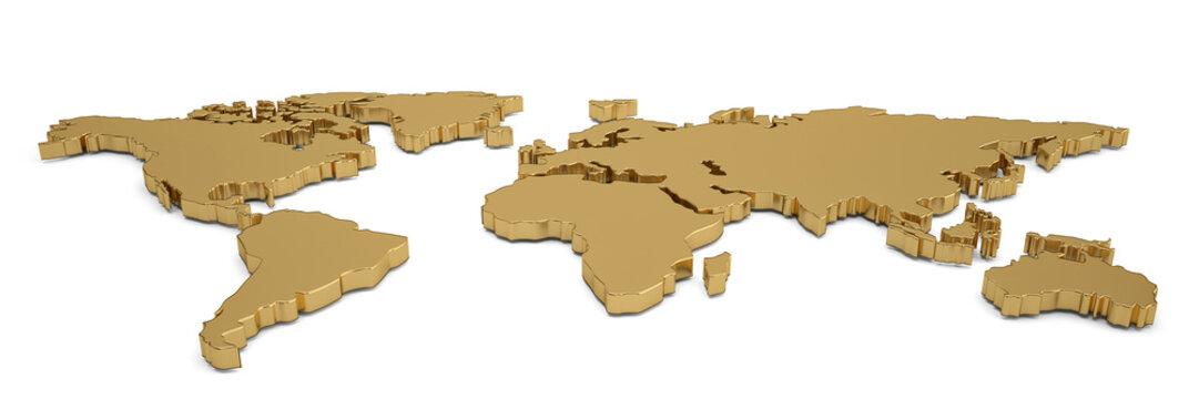 Golden world map isolated on white background 3D illustration.