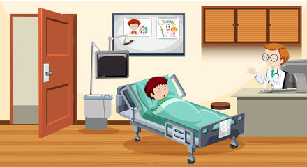 Sick child in bed at hospital